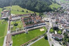 """Vorschaubild für Stock Bild """"img-20140801-130709-aerialstock-kloster-einsiedeln-00001"""""""