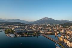 """Vorschaubild für Stock Bild """"img-20190724-063831-aerialstock-luzern-sonnenaufgang-00073"""""""